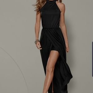 Venus Black Long Drape Dress